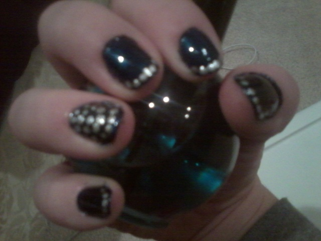 Navy blue and aluminum polka dots